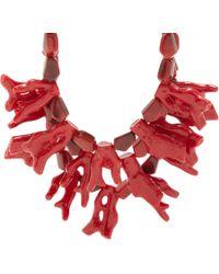 Fenton | Red Crimson Coral Bib Necklace | Lyst