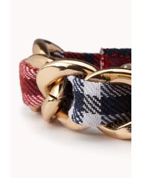 Forever 21 - Red Edgy Curb Chain Bracelet - Lyst
