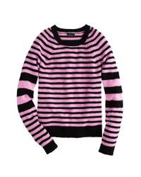 J.Crew | Pink Collection Cashmere Sleevestripe Sweater | Lyst