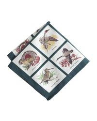 J.Crew | Multicolor Italian Cotton Pocket Square in Bird Print for Men | Lyst