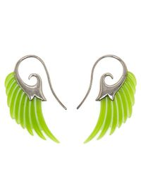 Noor Fares - Green 18k Gold and Jade Wing Earrings - Lyst