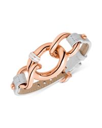 Tommy Hilfiger | Pink Tommy Hilfger Bracelet Rose Goldtone Graduated Chain and Thin White Leather Buckle Bracelet | Lyst