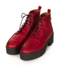 TOPSHOP - Red Ares Heavy Lace Up Boots - Lyst