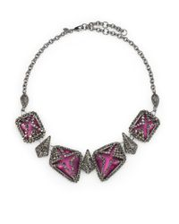 Alexis Bittar | Purple Marcasite Caged Lucite Bib Necklace | Lyst