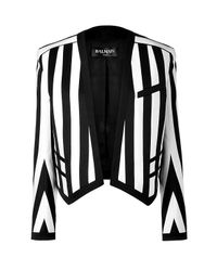 Balmain | Blackwhite Striped Cottonblend Open Jacket | Lyst