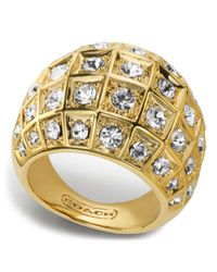 COACH - Metallic Beveled Pave Dome Ring - Lyst