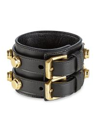 Saint Laurent - Metallic Studded Leather Double Cuff - Lyst