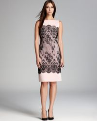 Tadashi Shoji | Black Laceprint Neoprene Sheath Dress Sleeveless | Lyst