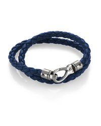 Tod's | Blue Leather Double Wrap Bracelet | Lyst