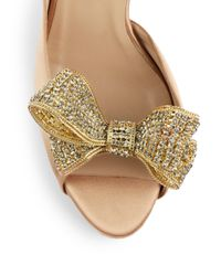 Valentino - Natural Satin Dorsay Evening Pump with Crystal Bowtie - Lyst