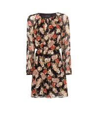 Mango | Black Floral Print Chiffon Dress | Lyst