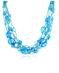 Antica Murrina | Blue Cancun Murano Glass Beads Flowers Multistrand Necklace | Lyst