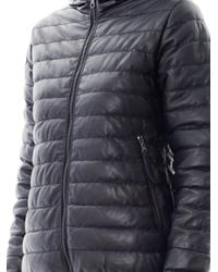 Duvetica | Blue Messenedue Leather Quilted Jacket for Men | Lyst