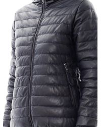 Duvetica - Blue Messenedue Leather Quilted Jacket for Men - Lyst