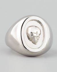 Eddie Borgo - Metallic Skull Cameo Ring Silver for Men - Lyst