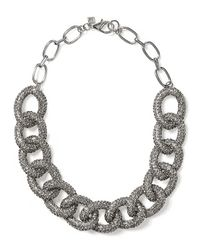 Banana Republic | Metallic Sky Pave Link Necklace Silver | Lyst