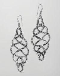 John Hardy - Metallic Chain Silver Braided Drop Earrings - Lyst
