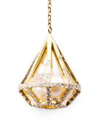 Melanie Georgacopoulos - White Diamond Pearl Yellow Gold Drop Earrings - Lyst