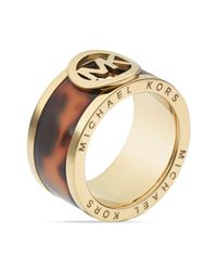 Michael Kors | Metallic Tortoise Acetate Fulton Band Ring | Lyst
