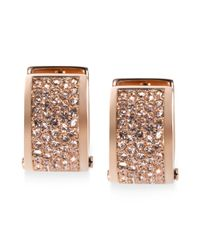 Michael Kors | Pink Rose Goldtone Pave Huggie Hoop Earrings | Lyst