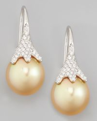 Eli Jewels | Natural Golden South Sea Pearl And Diamond Drop Earrings | Lyst