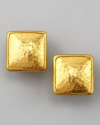 Gurhan | Metallic Amulet 24K Gold Square Stud Earrings | Lyst
