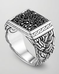 John Hardy | Metallic Classic Chain Silver Lava Square Ring with Black Sapphire Size 10 for Men | Lyst