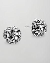 John Hardy | Metallic Classic Chain Silver Knot Stud Earrings | Lyst