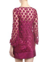 Laundry by Shelli Segal - Polkadot Lace Shift Dress Red Plum 12 - Lyst