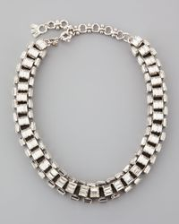 Lee Angel | Metallic Silverplated Clear Crystal Baguette Necklace | Lyst