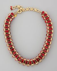 Lee Angel - Yellow Goldplated Red Crystal Baguette Necklace - Lyst