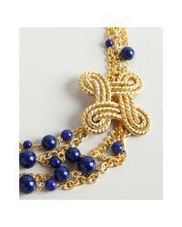 Ben-Amun   Metallic Gold and Cobalt Bead Chain Strand Necklace   Lyst