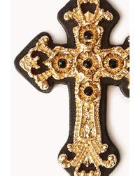Forever 21   Metallic Ornate Cross Drop Earrings   Lyst