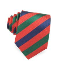 FORZIERI - Red Three Toned Striped Woven Silk Tie for Men - Lyst