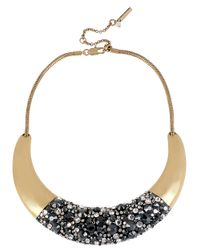 Kenneth Cole - Metallic Goldtone Crystalencrusted Half Moon Collar Necklace - Lyst