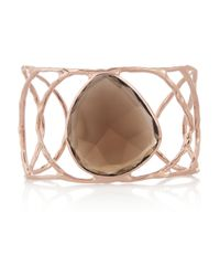 Monica Vinader | Gray Hero Hammered Rose Goldplated Quartz Cuff | Lyst