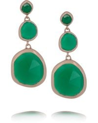 Monica Vinader | Green Siren Rose Goldplated Onyx Earrings | Lyst