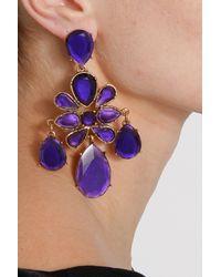 Oscar de la Renta - Purple Faceted Resin Chandelier Earring - Lyst