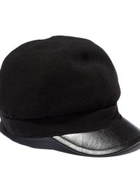 Vince Camuto | Black Wool Cap W Faux Leather Brim | Lyst