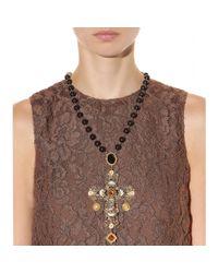 Dolce & Gabbana   Black Crystalembellished Cross Necklace   Lyst