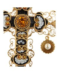 Dolce & Gabbana | Black Crystalembellished Cross Necklace | Lyst