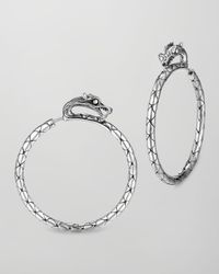 John Hardy | Metallic Naga Medium Silver Hoop Earrings With Full Closure | Lyst