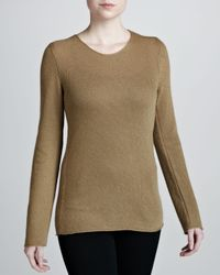 Michael Kors - Natural Biasknit Cashmere Sweater Sage - Lyst