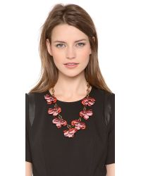 Tory Burch | Pink Pentier Multi Flower Necklace | Lyst
