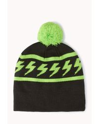 Forever 21 - Green Electric Pom Pom Beanie - Lyst