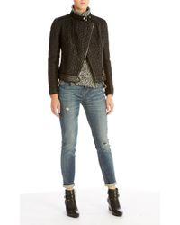 Karen Millen - Black Mixed Quilted Biker Jacket - Lyst