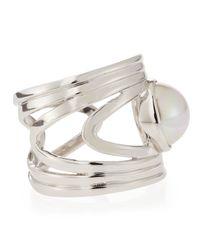 Majorica - Metallic Pearl Cuff Ring Size 7 - Lyst