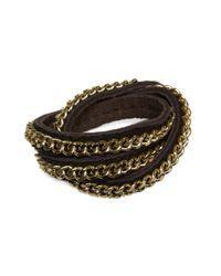 Ziba | Brown Link Chain Leather Wrap Bracelet | Lyst