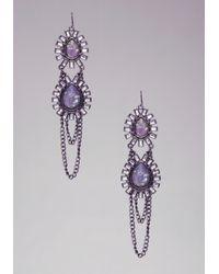 Bebe | Purple Iridescent Teardrop Chain Earrings | Lyst