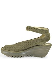 Fly London - Natural Ankle Strap Peep Toe Wedge - Lyst